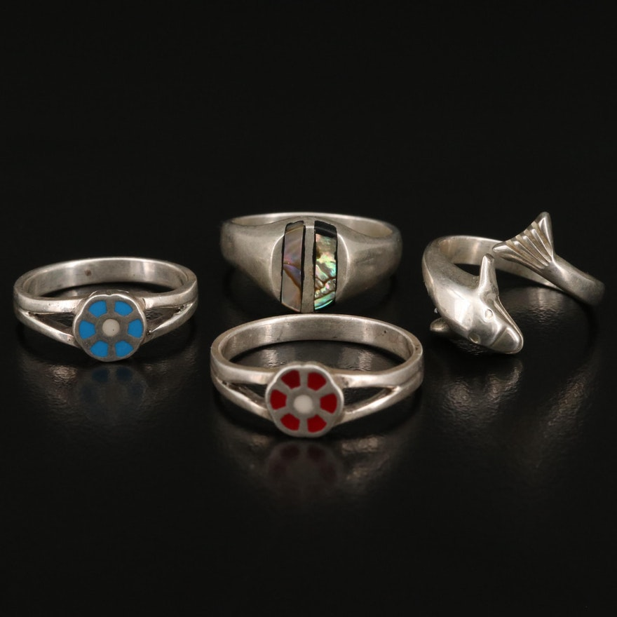 Sterling Silver Rings Featuring Abalone and Enamel Accents