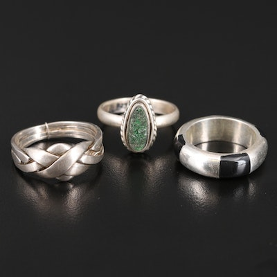 Sterling Silver Rings Featuring Druzy, Enamel and Puzzle Ring
