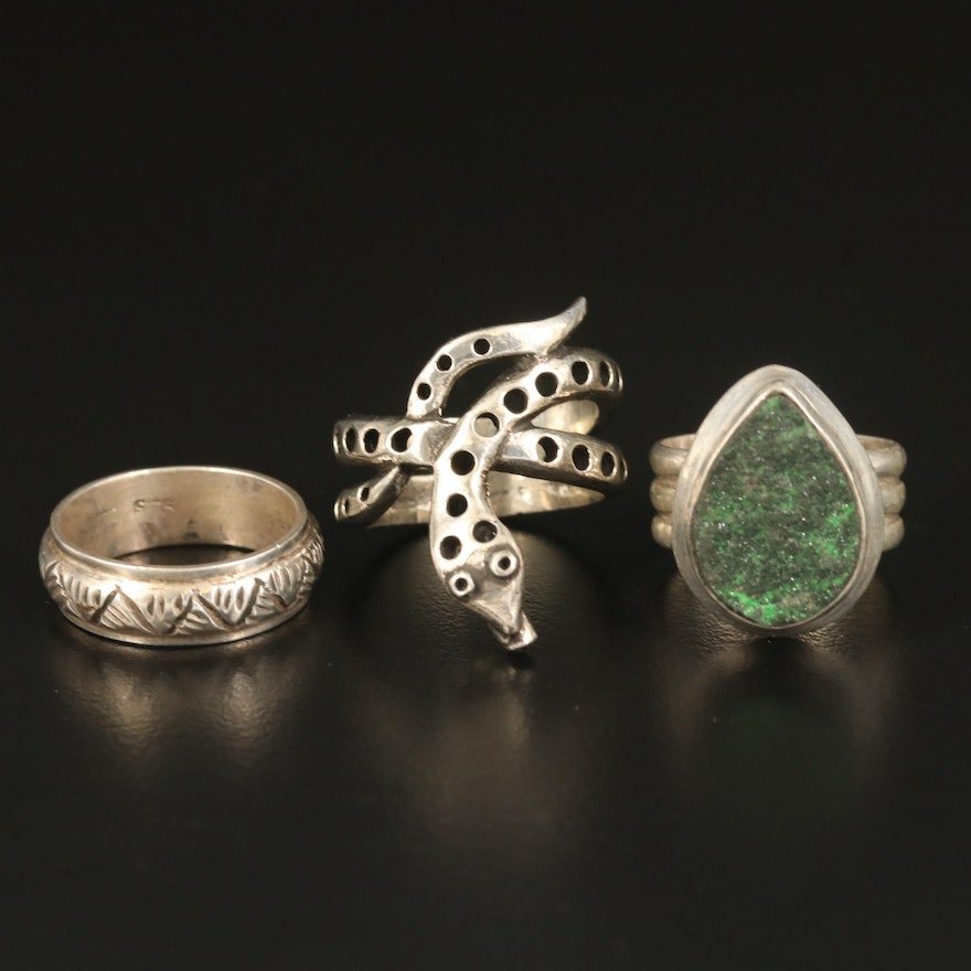 Sterling and 800 Silver Rings Including Snake and Druzy Rings