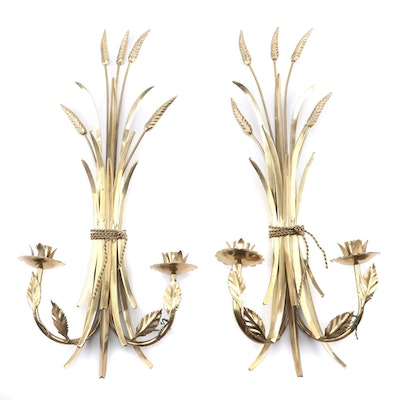 Pair of Brass Wheat and Foliate Candelabra Wall Sconces