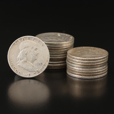 Twenty 1949 Franklin Silver Half Dollars