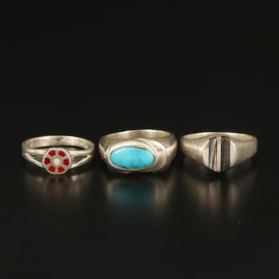 Sterling Abalone, Turquoise and Enamel Inlay Rings