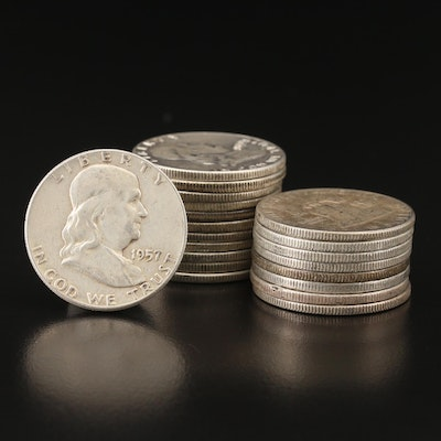 Twenty Franklin Silver Half Dollars