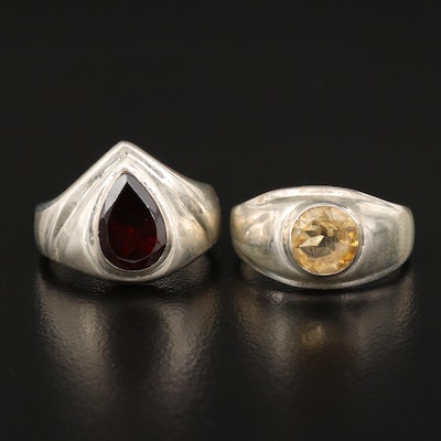 Sterling Silver Garnet and Citrine Bezel Set Rings