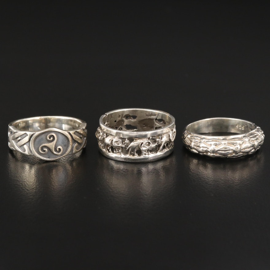 Sterling Silver Bands Featuring Elephant and Celtic Triskelion