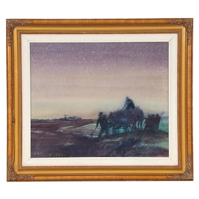 "Valfred Thelin Oil Painting ""End of Day,"" Mid to Late 20th Century"