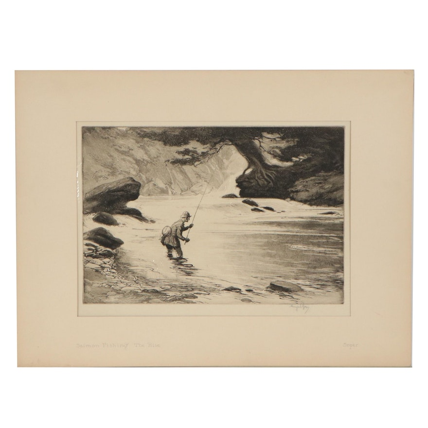 """George Soper Etching with Aquatint """"Salmon Fishing; The Rise"""""""