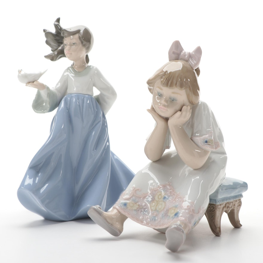 """Lladró """"Nothing to Do"""" with Nao by Lladró """"Winged Friend"""" Porcelain Figurines"""