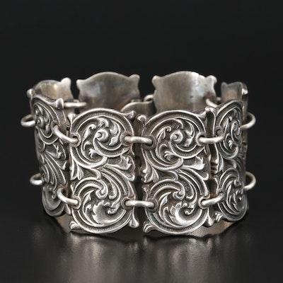 Vintage Mexican Sterling Silver Panel Bracelet