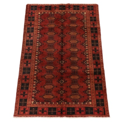 3'11 x 6'7 Hand-Knotted Russian Bokhara Wool Area Rug