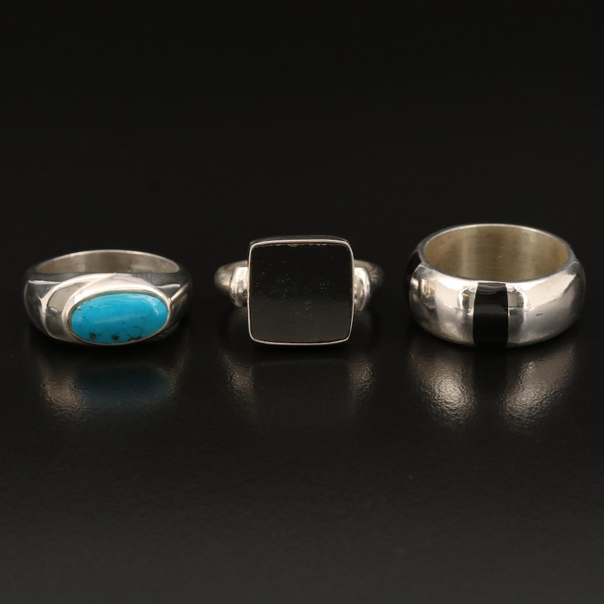 Sterling Rings Including Faux Black Onyx and Faux Turquoise