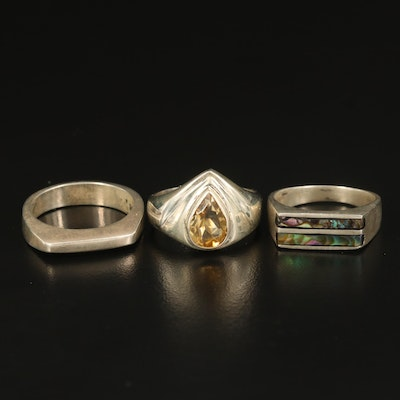Sterling Citrine Teardrop, Abalone Inlay and Bar Rings