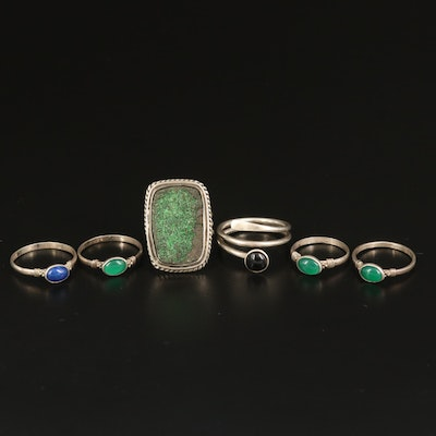 Sterling Rings Including Obsidian, Druzy and Chalcedony