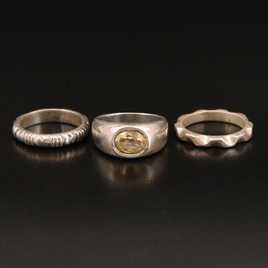 Sterling Rings Including Citrine