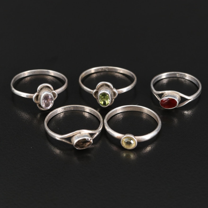 Sterling Silver Rings Featuring Garnet, Amethyst and Smoky Quartz