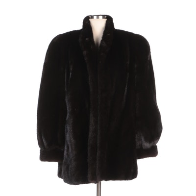 Black Mink Fur Coat with Banded Cuffs from Rhomberg's