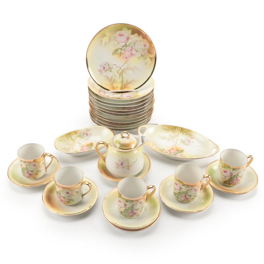 German Hand-Painted Porcelain Demitasse and Dessert Set, Early to Mid 20th C.