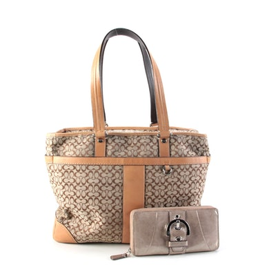 Coach Multifunction Tote in Signature Canvas and Leather with Soho Zipper Wallet