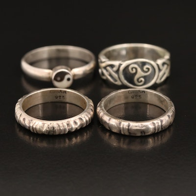 Sterling Rings Including Glass Ying Yang and Celtic Triskelion
