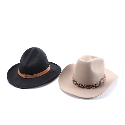 Bollman and Gray Mouse Western Hats with Leather Bands