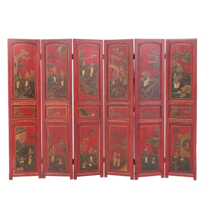Chinese Painted and Parcel-Gilt Six-Panel Screen, Mid to Late 20th Century