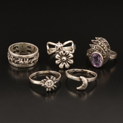 Sterling Rings Including Elephants, Sun, Moon, Amethyst and Marcasite