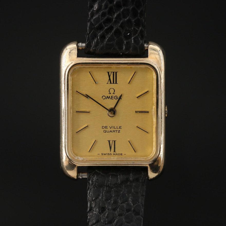 1977  Omega DeVille 10K Gold Filled Quartz Wristwatch