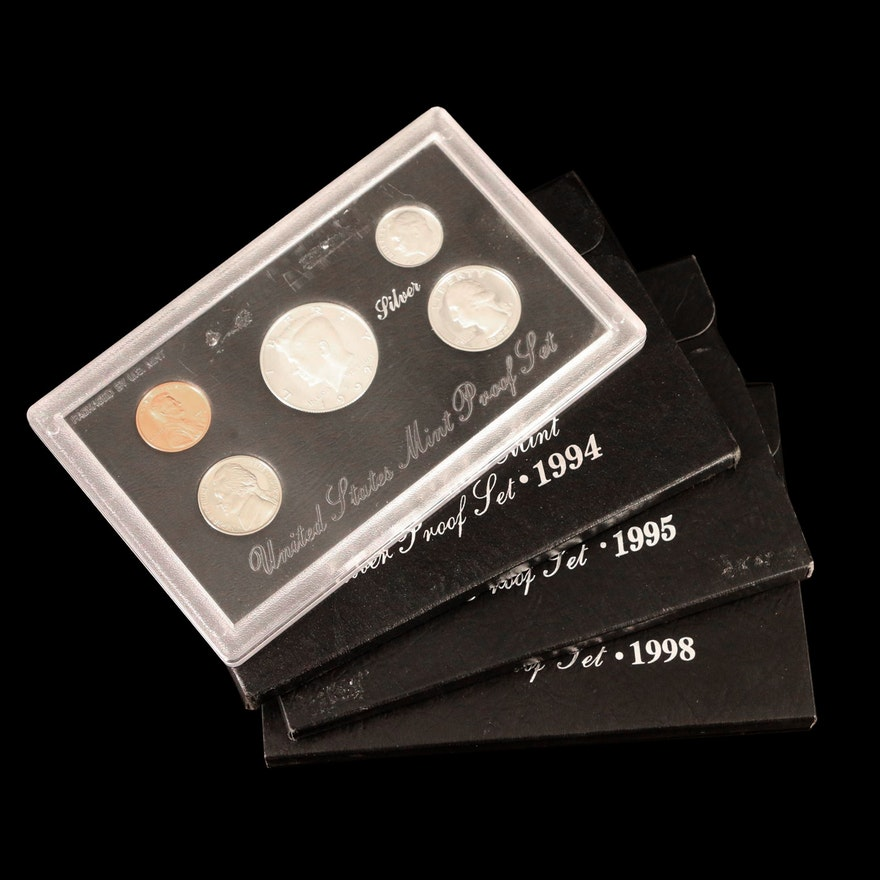 Four U.S. Mint Silver Proof Sets, 1992–1998