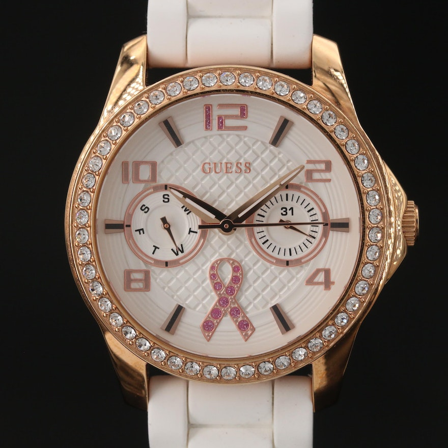 Guess Pink Ribbon Gold Tone Stainless Steel Wristwatch with Crystals