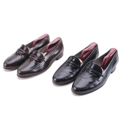 Bruno Magli Brown and Black Leather Loafers with Chernin's Shoe Trees