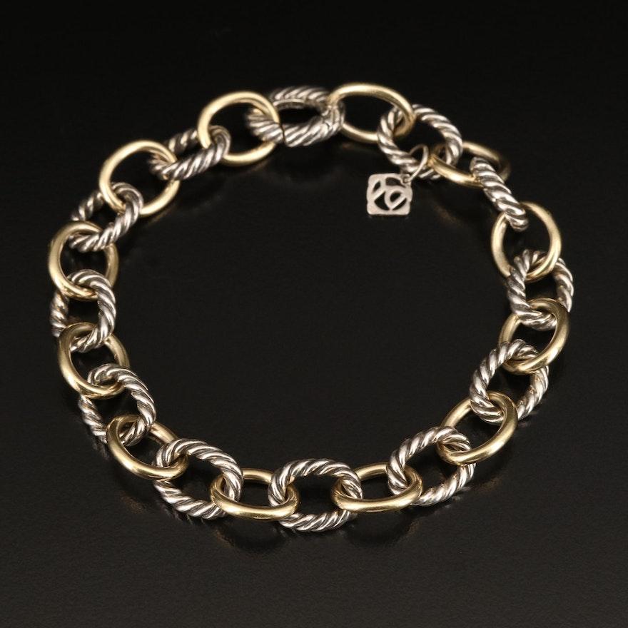 David Yurman Sterling Silver Oval Cable Link Bracelet