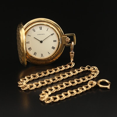 1976 Longines Pocket Watch with Gold Filled Chain Fob