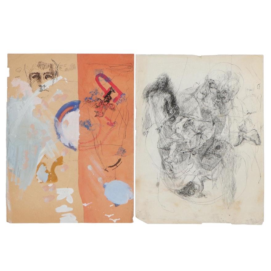 Oscar Murillo Abstract Mixed Media Drawings