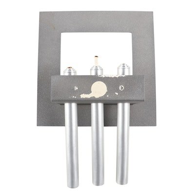 Contemporary Wall Mounted Frame with Three Metal Oil Torches