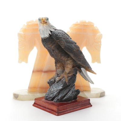 Banded Calcite Horsehead Bookends with Eagle Figurine