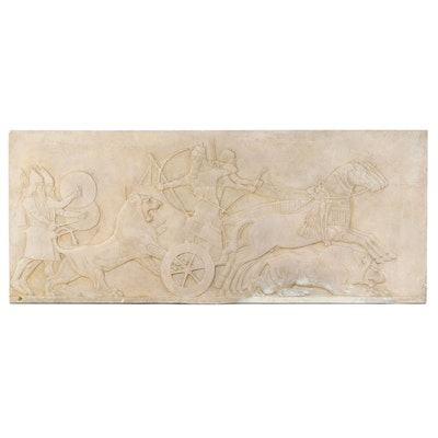 Caproni Plaster Relief after Assyrian King Ashurnasirpal II Lion Hunting Scene