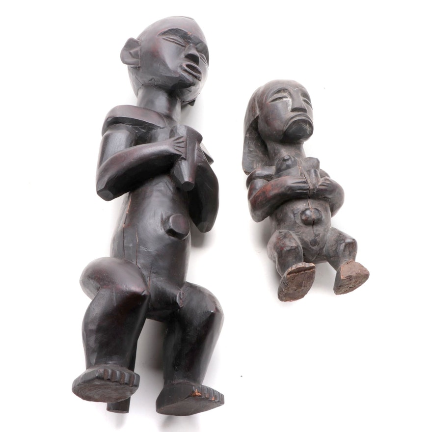 Fang Inspired Carved Wooden Figures, Central Africa