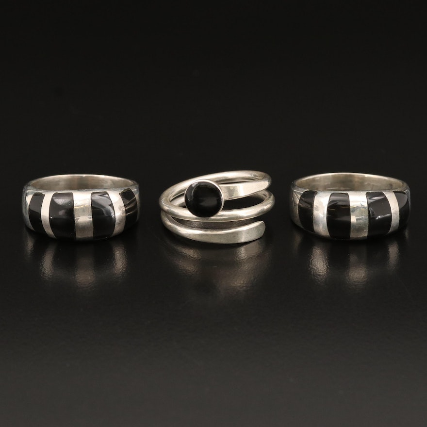 Sterling Rings Including Obsidian and Black Onyx