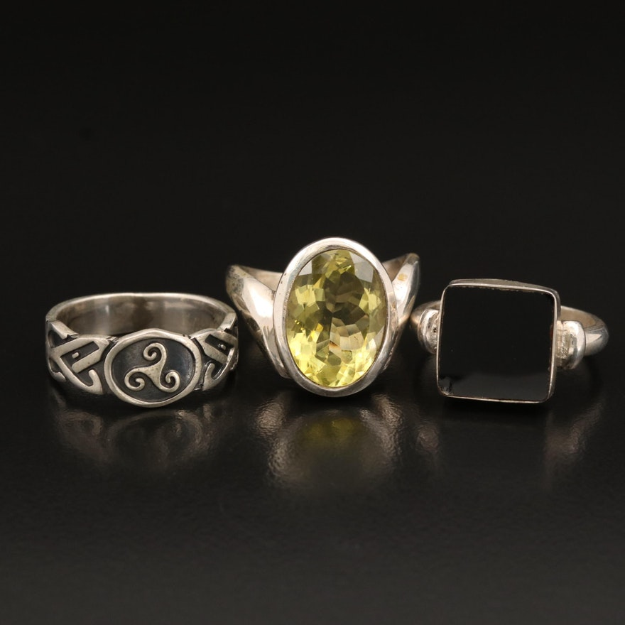 Sterling Rings Including Citrine, Black Onyx and Celtic Triskelion