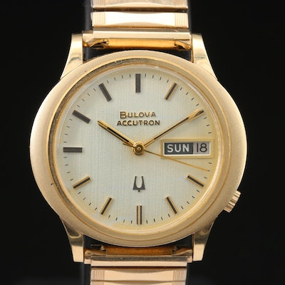 Bulova Accutron 14K Gold Wristwatch with Day and Date