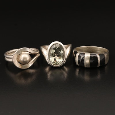 Sterling Rings Including Prasiolite and Black Onyx