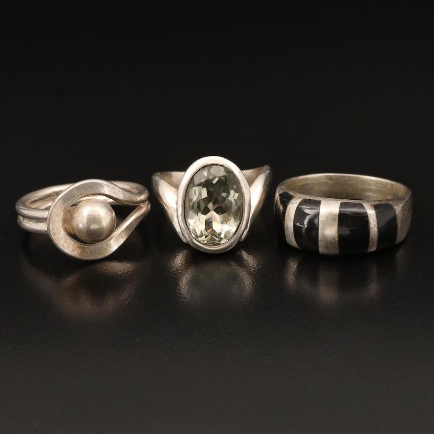 Sterling Rings Including Prasiolite and Black Onyx