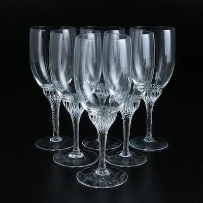 Glass Twist Stem Wine Glasses, Late 20th Century