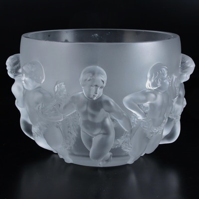 """Lalique """"Luxembourg"""" Frosted Crystal Bowl with Dancing Putti Relief"""