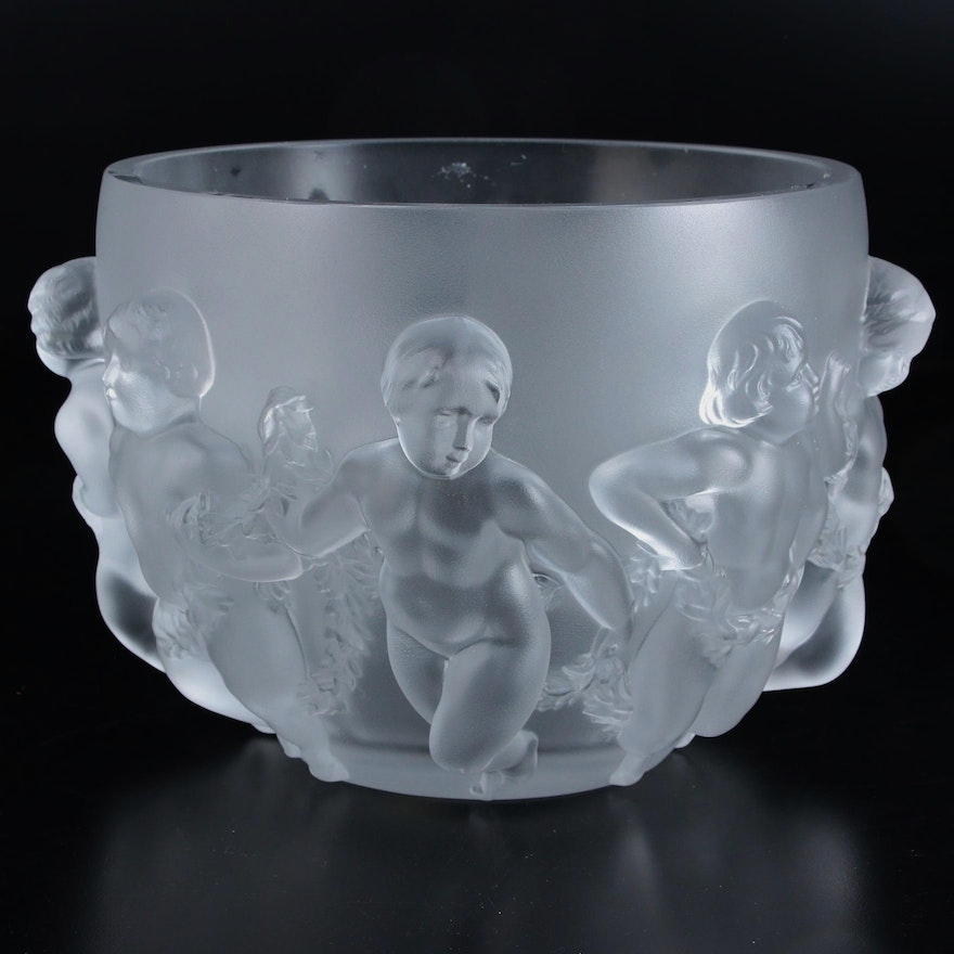 "Lalique ""Luxembourg"" Frosted Crystal Bowl with Dancing Putti Relief"