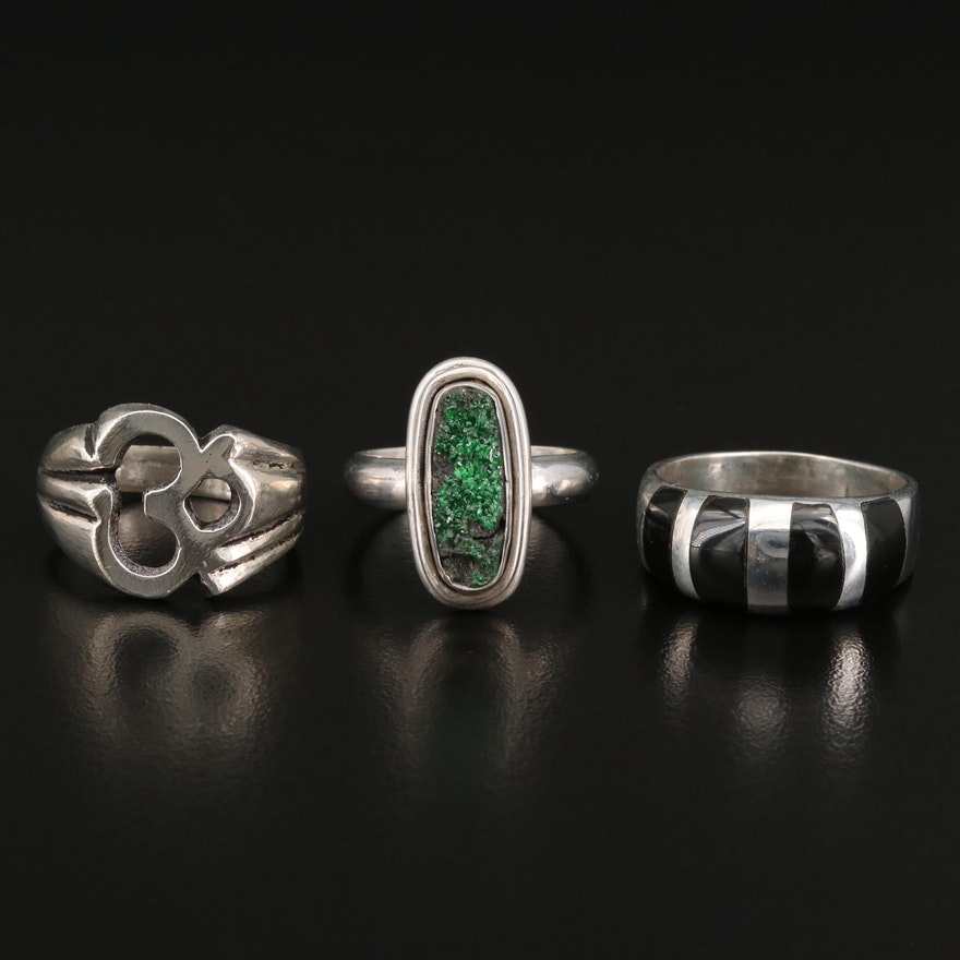 850 Silver Ohm Ring and Sterling Silver Rings Including Druzy