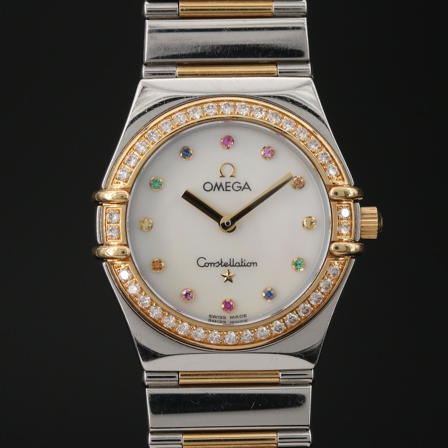 """Omega """"Constellation"""" 18K Gold and Stainless Steel Diamond Wristwatch"""