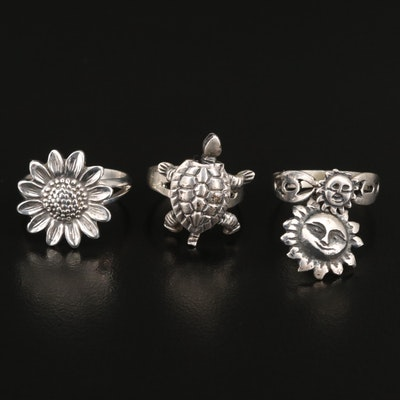 Sterling Silver Rings Featuring Articulated Turtle