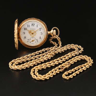 1900 Waltham 14K Gold Hunting Case Pocket Watch and Chain Fob
