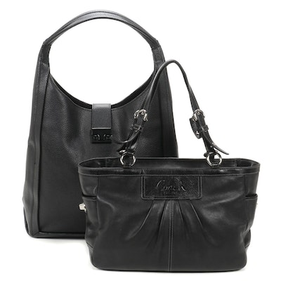 Loeffler Randall Pebbled Black Leather Handbag and Coach Black Leather Satchel